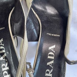 Vintage Prada suede peeptoe spoonheel sandals